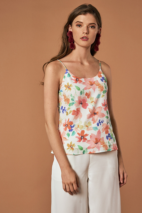 Leyla Two Way Watercolour Printed Top