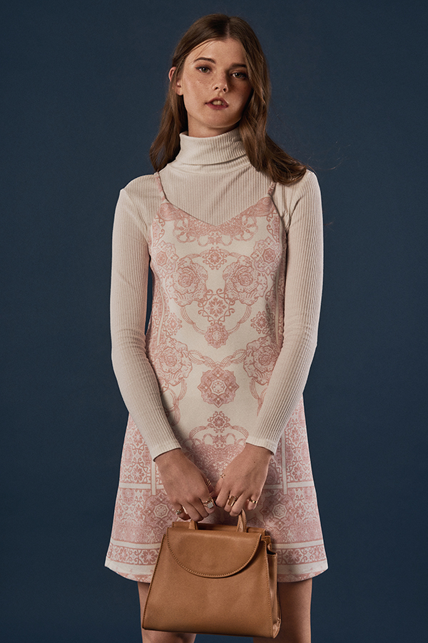 Kyleigh Baroque Printed Dress in Pink