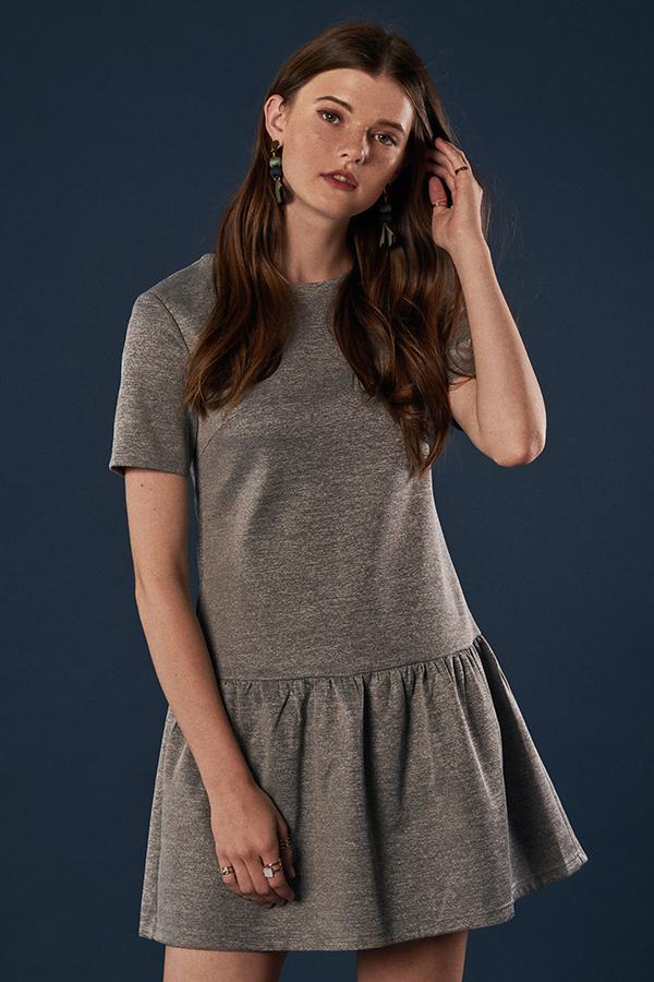 Merritt Dropwaist Dress in Heather Grey