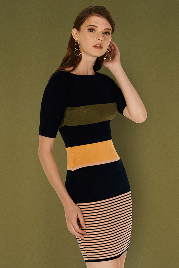 Jenine Stripes Knitted Dress