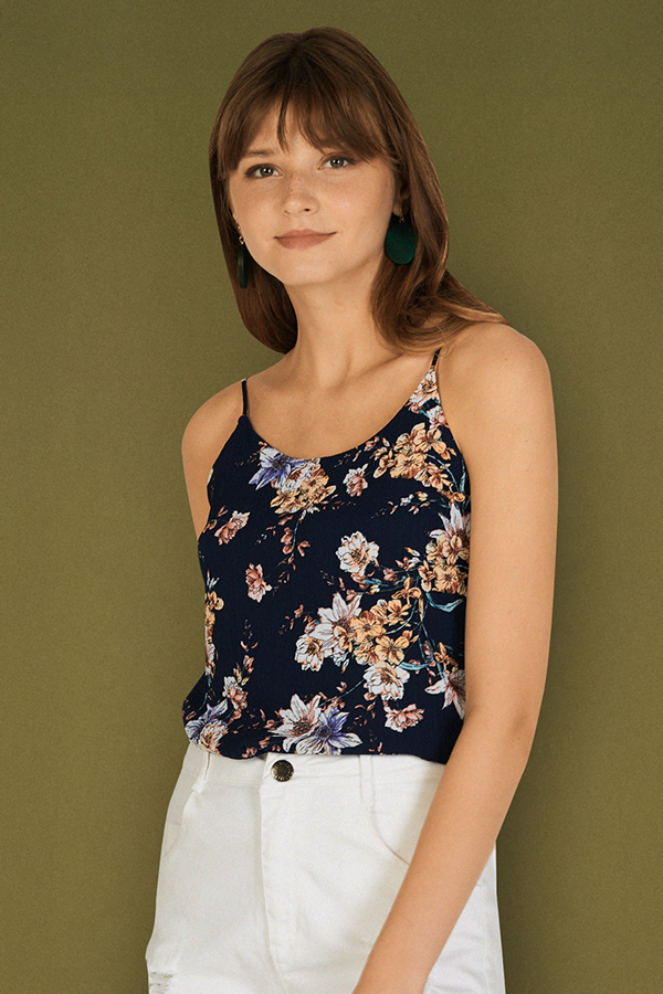 Taia Two Way Printed Top in Navy