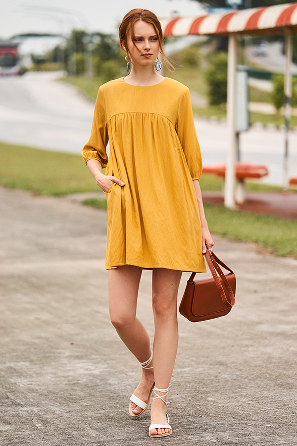 Myra Babydoll Dress in Mustard