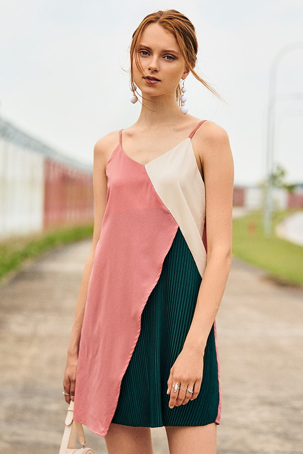 Nicola Pleated Dress in Pink