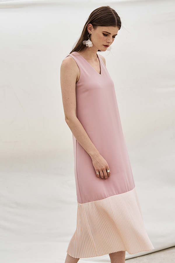 Aveline Pleated Midi Dress