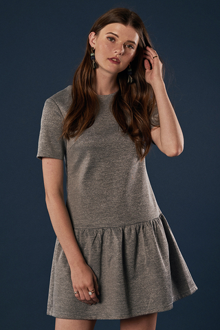 Merritt Dropwaist Dress in Heather Grey