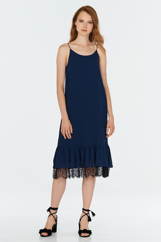 Saige Lace Hem Midi Dress in Navy