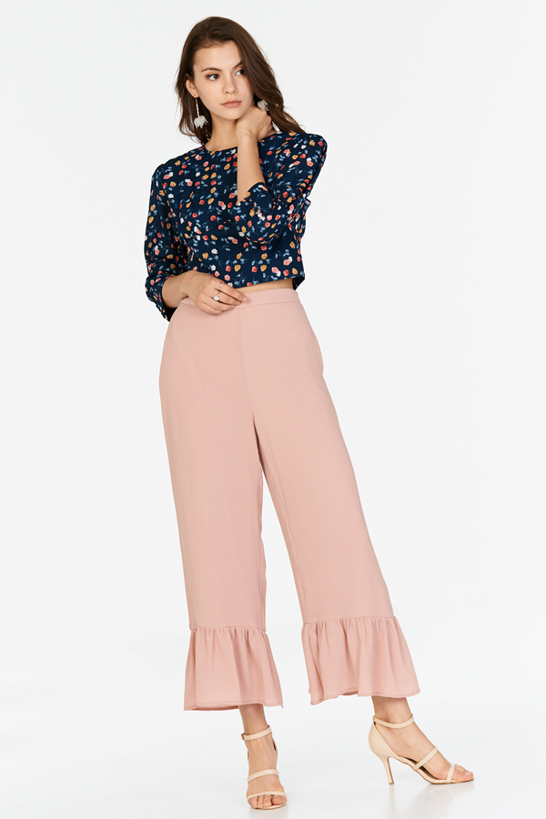 Jana Drop Hem Pants in Pink