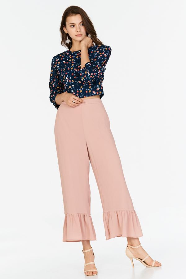 Jana Drop Hem Pants in Pink