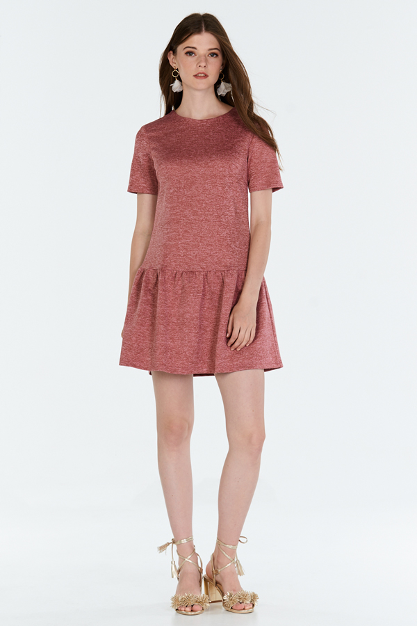 Merritt Dropwaist Dress in Heather Red