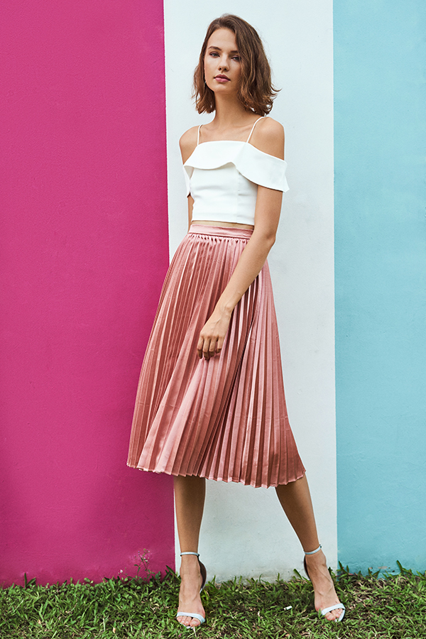 *Restock* Aerin Pleated Midi Skirt in Pink