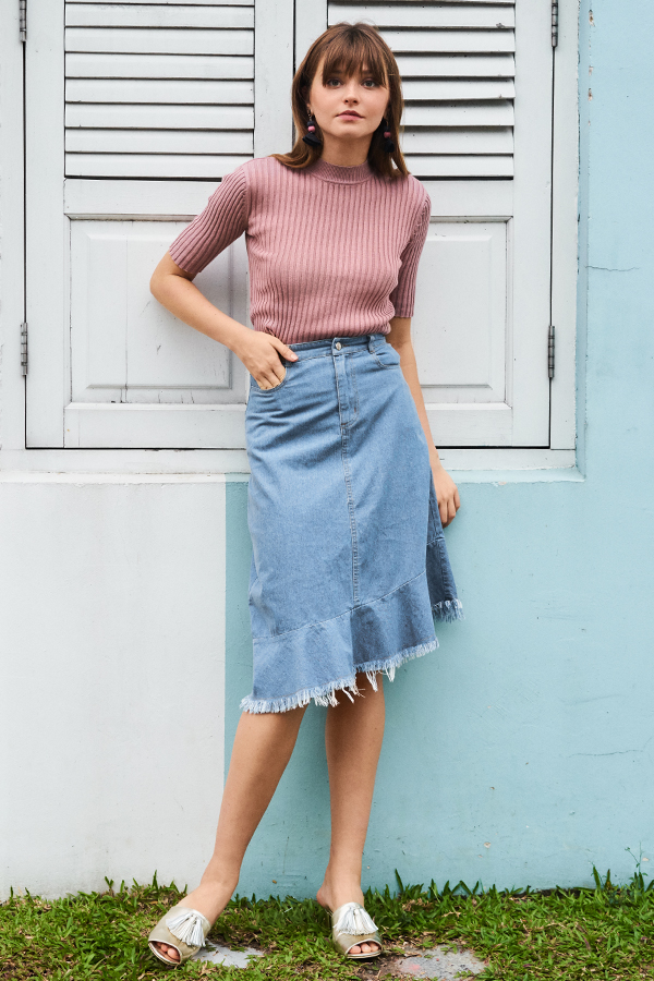 Renzo Denim Midi Skirt