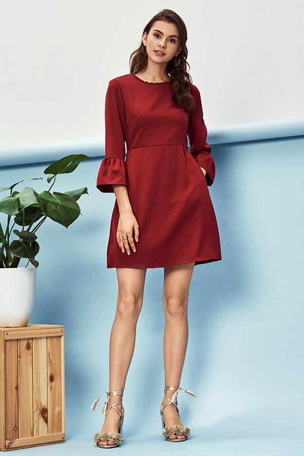 Kasen Ruffled Sleeve Dress in Wine