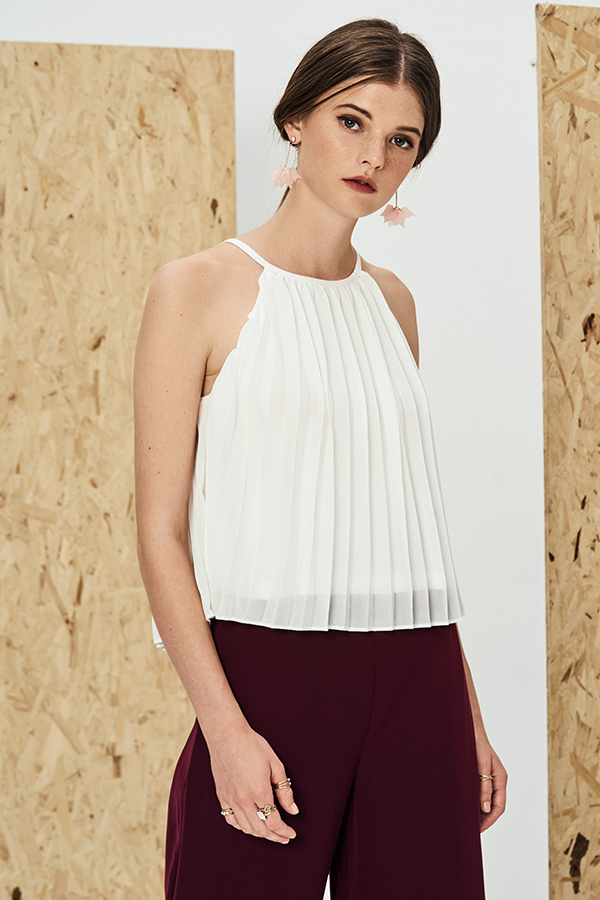 Valerie Pleated Top in White