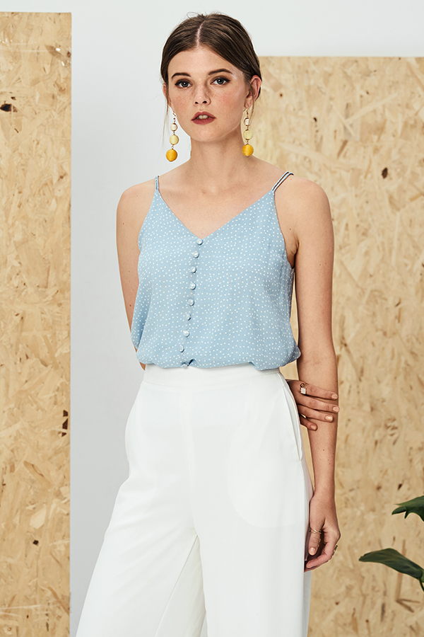 Keita Dotted Top in Blue