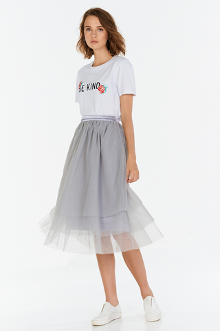 Haven Tulle Skirt in Grey