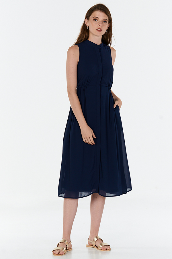Neena Midi Dress in Navy