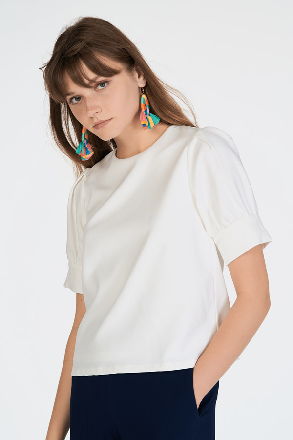 Lande Sleeved Top in White