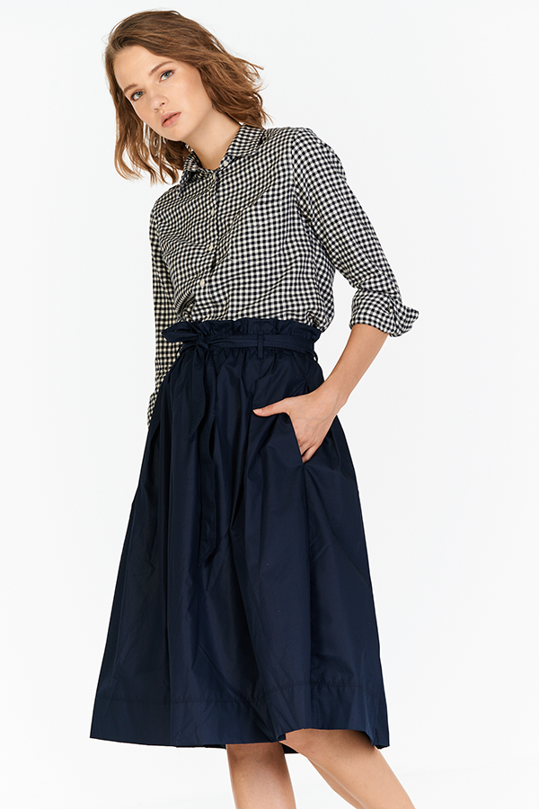 Dree Paperbag Midi Skirt in Navy
