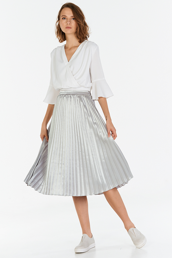 Aerin Pleated Midi Skirt in Silver