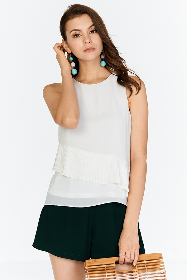Denisa Pleated Top in White