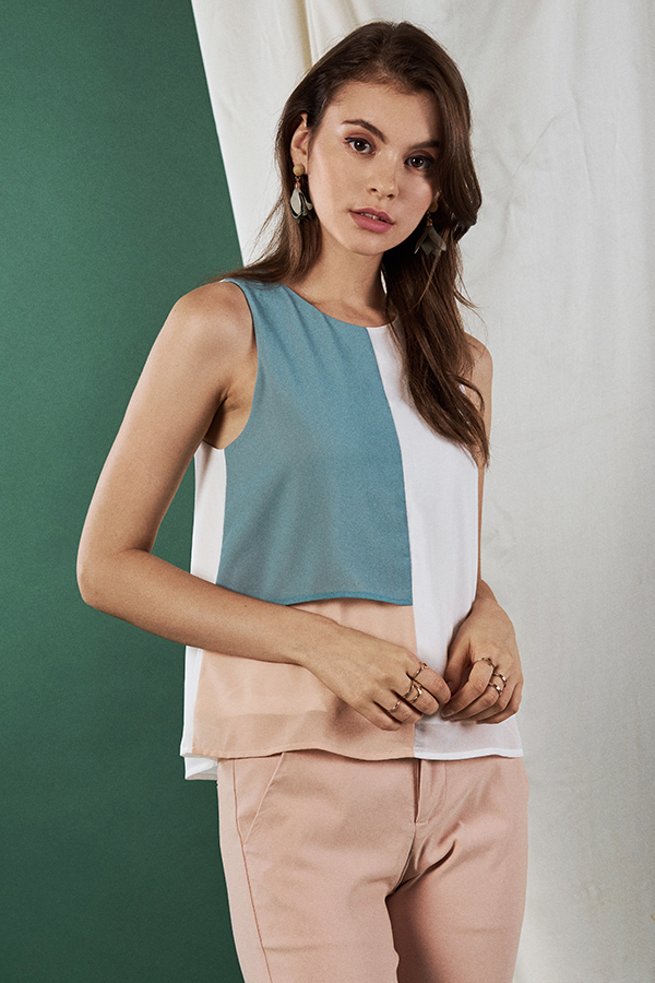 Munique Colourblock Top in Seafoam