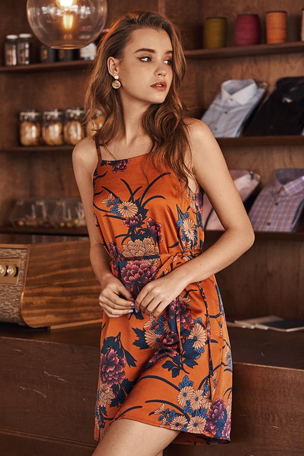 Yuko Floral Printed Slip Dress