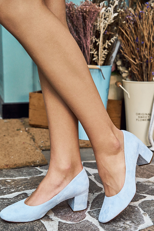 Fond Block Heels in Powder Blue