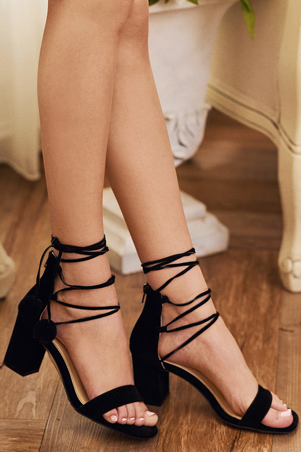 Tulla Lace Up Heels in Black