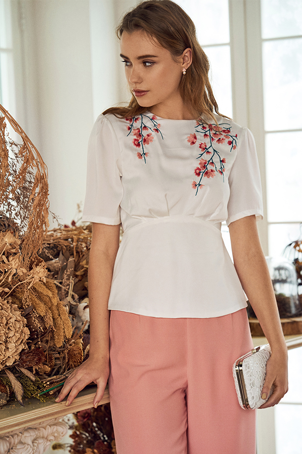 Sakura Floral Embroidered Top in White