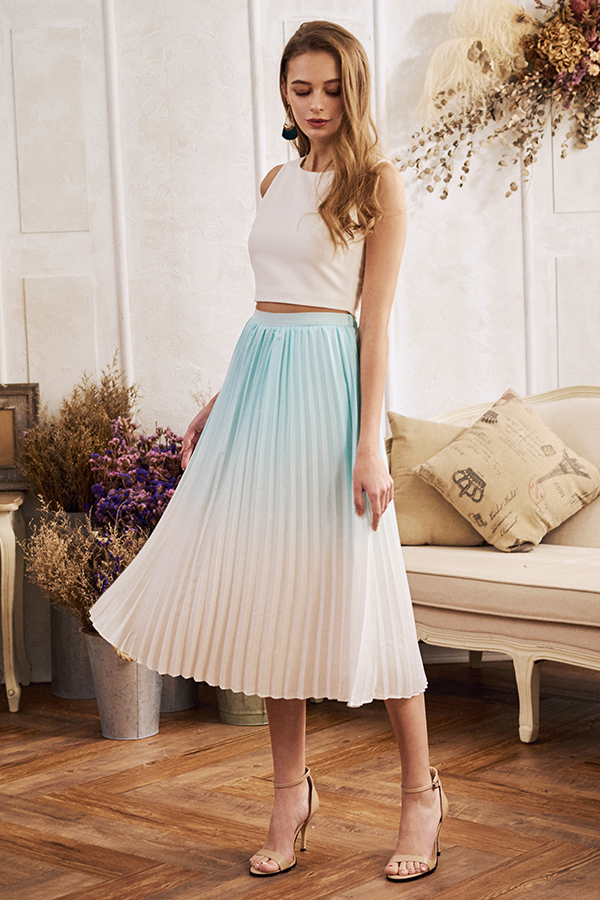 Calise Ombre Pleated Skirt