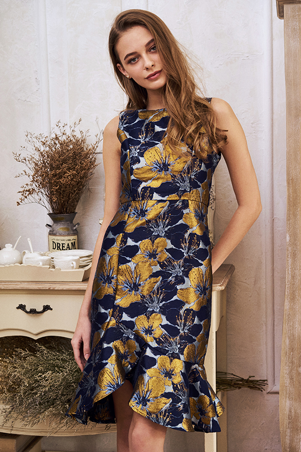 Varelia Brocade Floral Dress