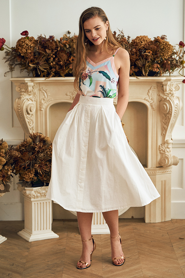 Ginny Midi Skirt in White