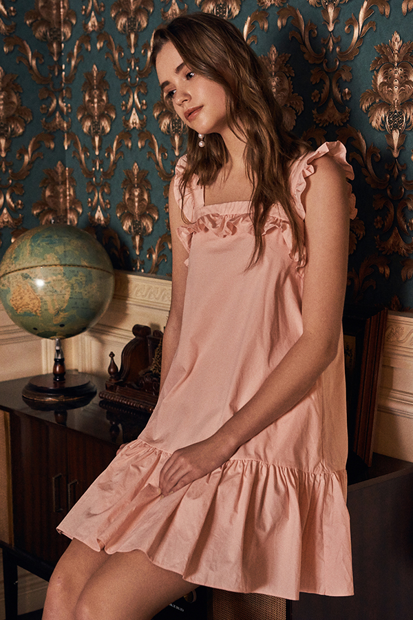 Aria Ruffled Dress in Light Pink