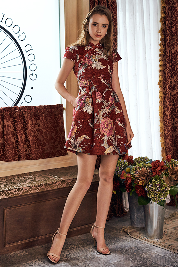 Golden Enchantment Skater Qipao in Red