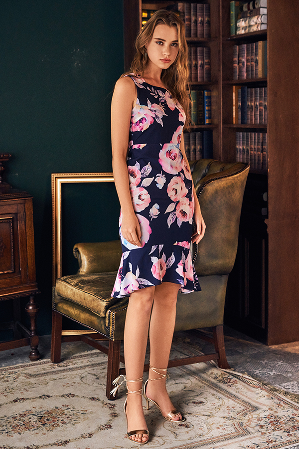 Rilay Floral Printed Midi Dress
