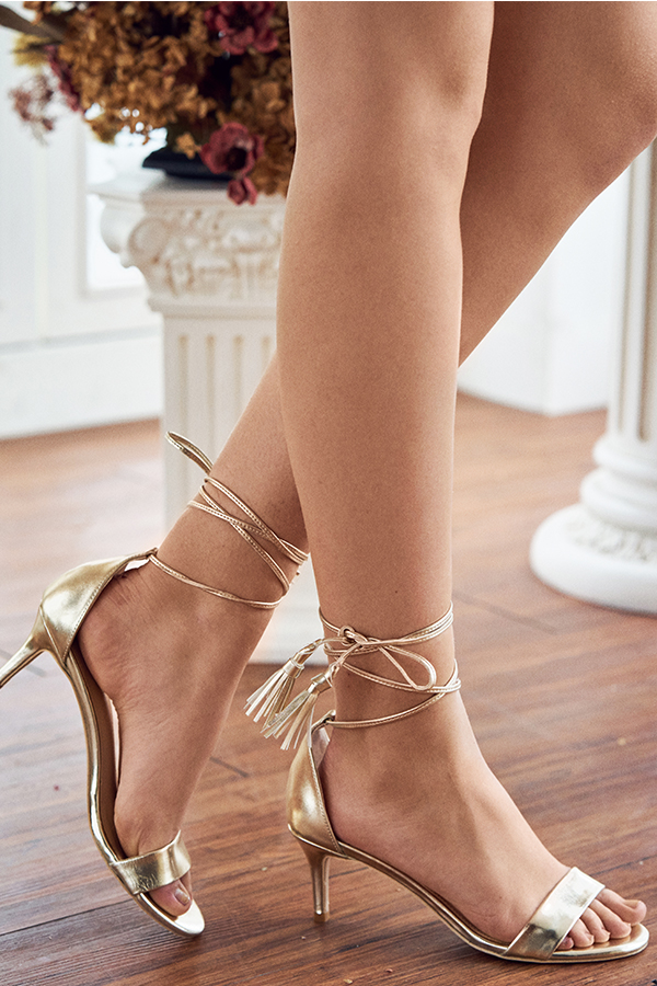 Gracen Lace Up Heels in Gold