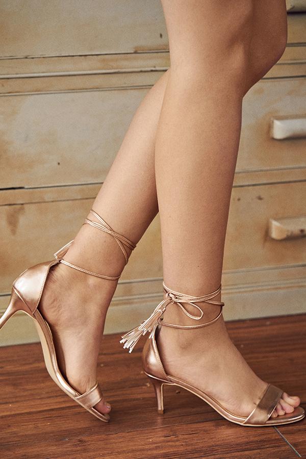 Gracen Lace Up Heels in Rose Gold
