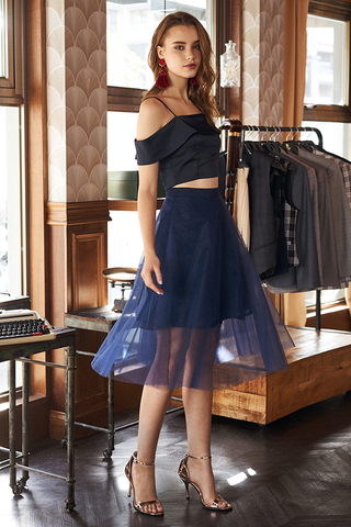 Velly Crochet Tulle Skirt in Navy