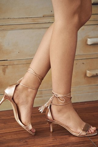 Gracen Lace Up Heels in Rose Gold