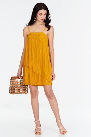 Jouie Pleated Dress in Marigold