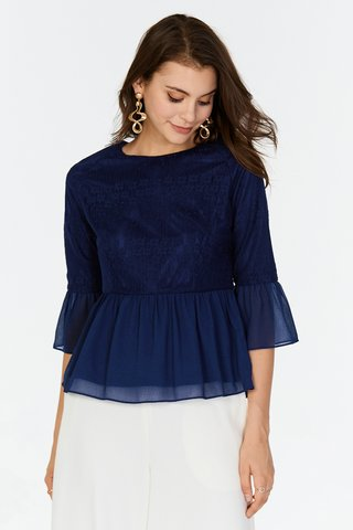 Adanna Peplum Top in Navy