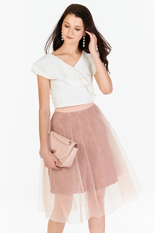 Velly Crochet Tulle Skirt in Pink