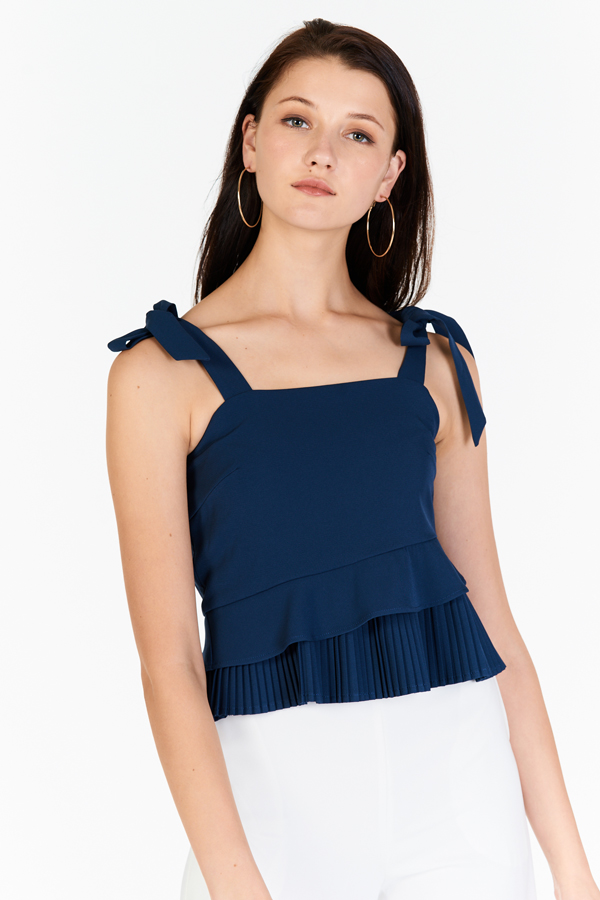 Pauly Pleated Top in Navy