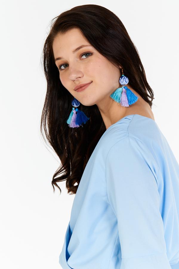 Aliyah Tassel Earrings in Blue
