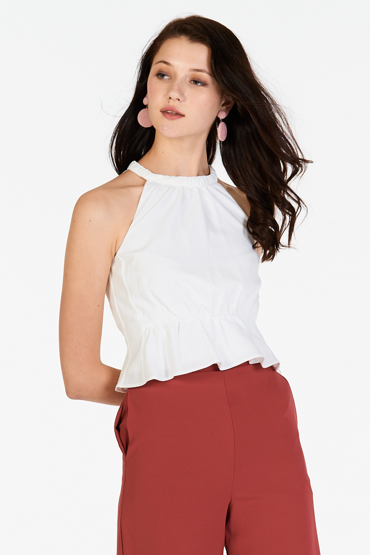 Peigi Peplum Top in White