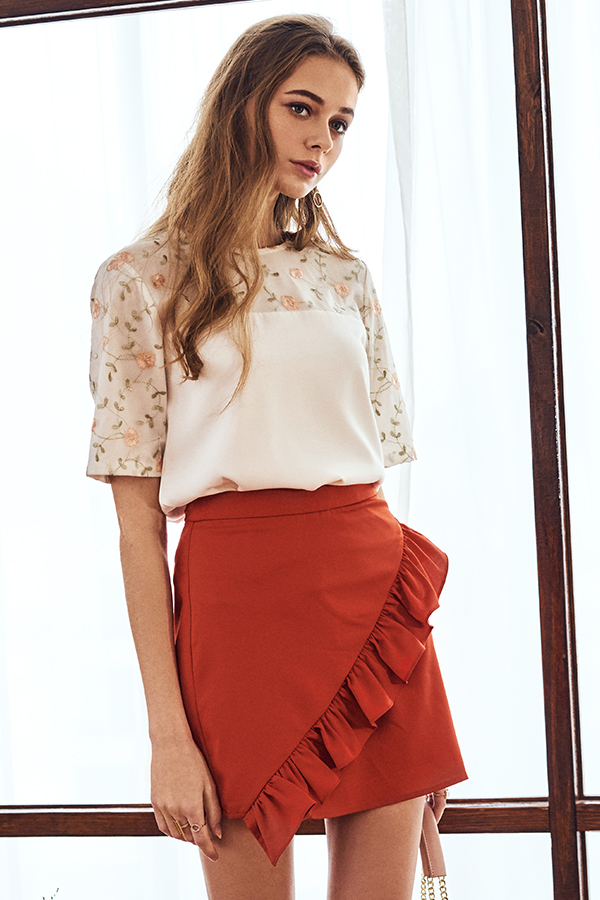 Salya Ruffled Skorts in Burnt Orange