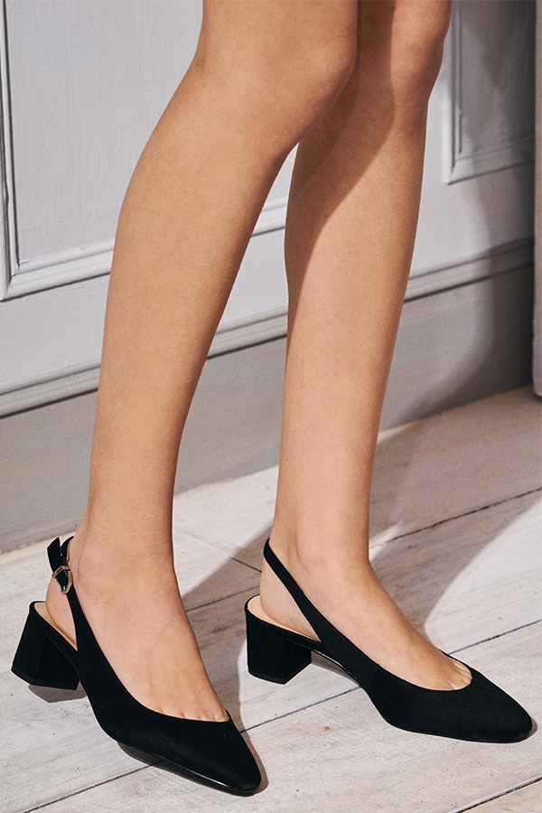 *Restock* Hollie Suede Slingback Heels in Black