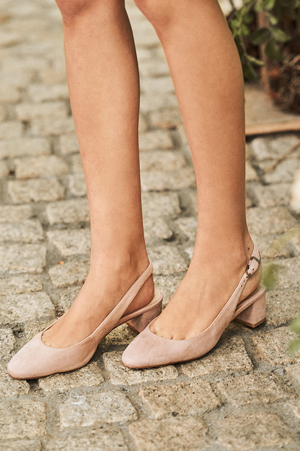 *Restock* Hollie Suede Slingback Heels in Light Pink