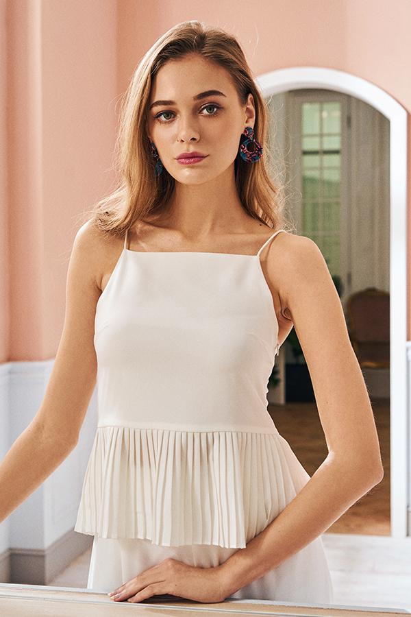 Frun Pleated Top in White