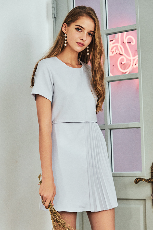 *Restock* Stelle Pleated Dress in Ash Lavender
